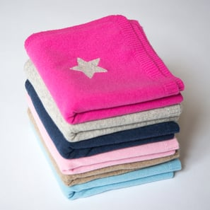 Cashmere Baby Blanket with Star | 100% Cashmere, Colour: Navy | Code: 0715IB010151S
