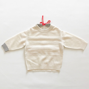 Girl's Jumper with red Ribbon, 6 Months | 100% Cashmere, Colour: Natural White | Code: PLM-10048