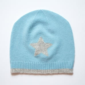Hat with Star | 100% Cashmere, Colour: Light Blue | Code: 0715AH010154XXX
