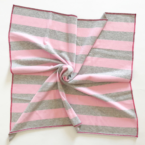 Striped Baby Blanket, 80x80 cm | 100% Cashmere, Colour: Light Grey/ Rose | Code: PLM-10057