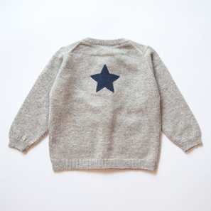 Cardigan with Star | 100% Cashmere, Colour: Light Grey Mélange | Code: 0714BC010181XXX