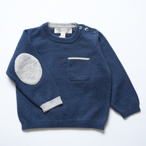 Jumper with Elbowpatches | 100% Cashmere, Colour: Navy | Code: 0715BJ030151XXX