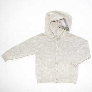 Hoody Cardigan | 100% Cashmere, Colour: Light Grey Mélange | Code: 0716BC050181XXX