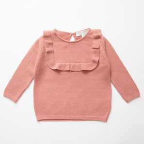 Girl's Jumper LOU with Frill  | 100% Cashmere, Colour: Cameo Rose | Code: BJ08018091XXX