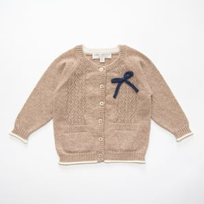 Ajour Cardigan with Bow | 100% Cashmere, Colour: Beige Mélange | Code: 0117BC010102XXX
