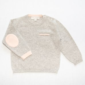 Jumper with Elbowpatches | 100% Cashmere, Colour: Light Grey Mélange | Code: 0717BJ030181XXX