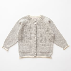 Ajour Cardigan | 100% Cashmere, Colour: Light Grey Mélange | Code: 0119BC010181XXX