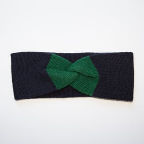 Headband with Twist Knot | 100% Cashmere, Colour: Dark Navy | Code: 0718AH190156XXX