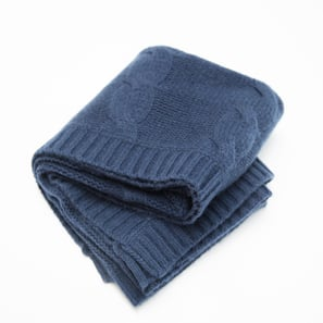 Cashmere Cable Blanket | 100% Cashmere, Colour: Navy | Code: 0715IB030151