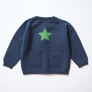 Cardigan with Star, b) 6 months/68 cm | 100% Cashmere, Colour: Navy | Code: 0714BC010151068