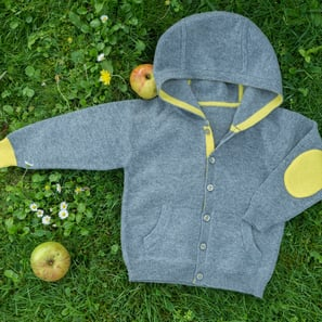 Hoody Cardigan, a) 3 months/62 cm | 100% Cashmere, Colour: Dark Grey Mélange | Code: 0115BC050182062