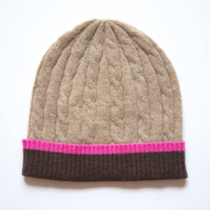 Hat with Braid Pattern | 100% Cashmere, Colour: Beige Mélange | Code: 0715AH020102XXX