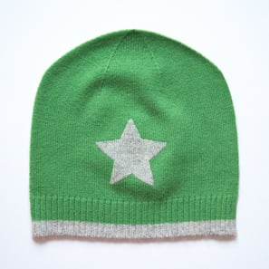 Hat with Star | 100% Cashmere, Colour: Green | Code: 0715AH010161XXX