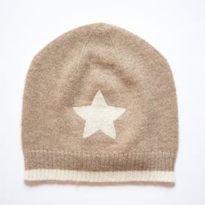 Hat with Star | 100% Cashmere, Colour: Beige Mélange | Code: 0715AH010102XXX