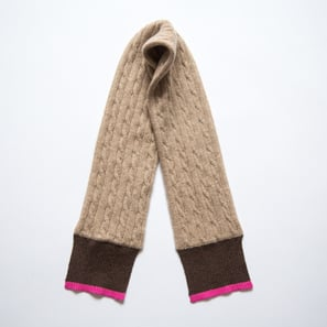 Scarf with Braid Pattern | 100% Cashmere, Colour: Beige-Mélange | Code: 0715AS020102XXX