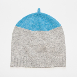 Hat with Colour Block | 100% Cashmere, Colour: Light Grey Mélange with Acid Blue | Code: 0117AH120181XXX