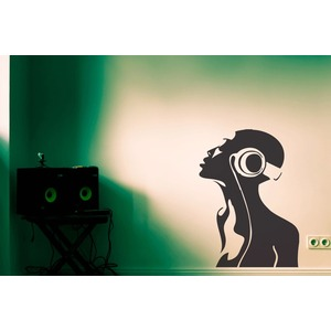 HEADPHONE GIRL | MORE MUSIC Street Art Wandtattoo   |  | Artikelnummer: 62853991