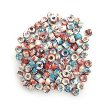 weiß braun gesprenkelt Keramikperlen Keramik Zylinder 100 Stück 6mm
