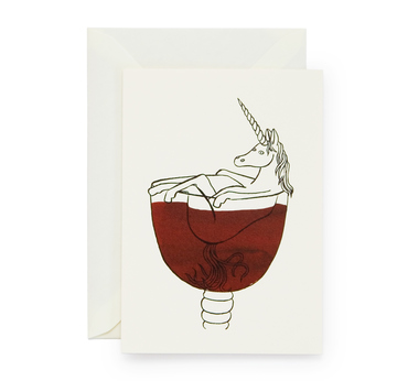 Weinhorn – Illustration von Lilli Gärtner | Unicorn in wine glass – illustration by Lilli Gärtner | Artikelnummer: lilli01