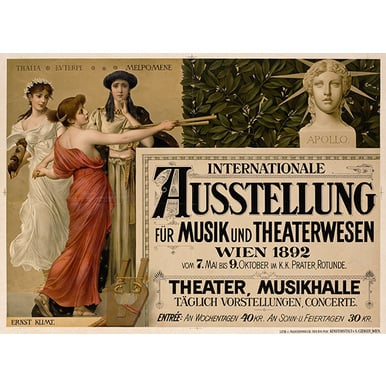 Advertising poster 1892 | Internationale Ausstellung für Musik und Theaterwesen | Artikelnummer: PODE-PI-1726-A2S