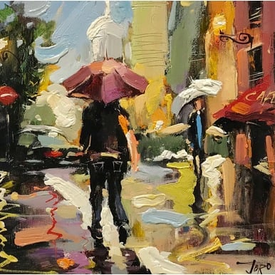 A walk in the rain | 25 x 25 cm | Artikelnummer: KOGEA176
