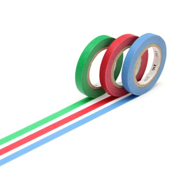 mt Masking Tape Slim - Blau, Rot, Grün / Blue, Red, Green | 3 x 6mm | Artikelnummer: MTSLIM14Z