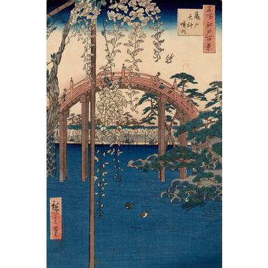 100 famous views of Edo | Compound of the Tenjin Shrine at Kameido | Artikelnummer: PODE-KI-10972-A3S