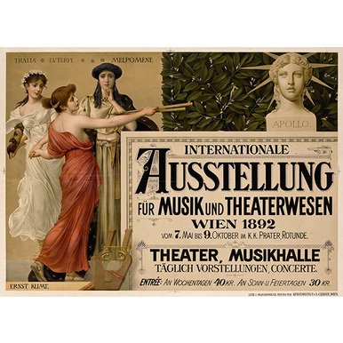 Advertising poster 1892 | Internationale Ausstellung für Musik und Theaterwesen | Artikelnummer: PODE-PI-1726-A4