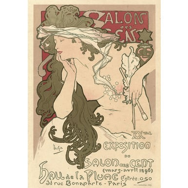 Salon des Cent. XXme. Exposition du Salon des Cent. Hall de la Plume. Paris | Advertising Poster 1896 | Artikelnummer: POD-PI-4456-A2