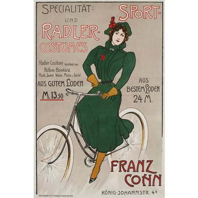 Specialität: Sport- und Radler Costumes | Advertising Poster around 1910 | Artikelnummer: POD-PI-3385-A4S