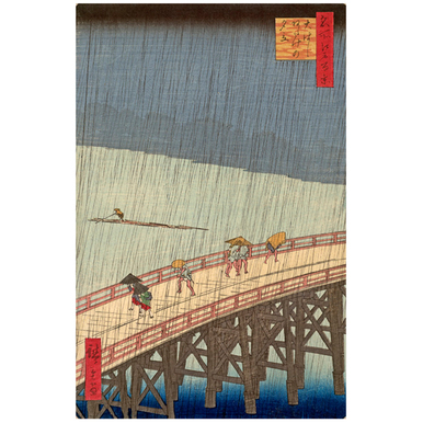 Rain shower above the Great bridge at Atake | Woodcut 100 famous views of Edo | Artikelnummer: PODE-HM-11174-A2