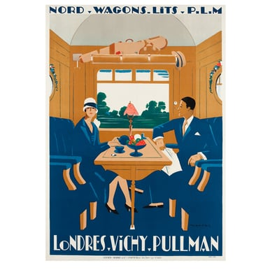 Londres-Vichy-Pullman. Nord Wagons Lits | Advertising Poster 1927 | Artikelnummer: POD-PI-632-A2S