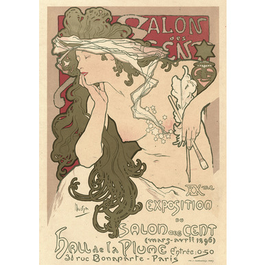 Salon des Cent. XXme. Exposition du Salon des Cent. Hall de la Plume. Paris | Advertising Poster 1896 | Artikelnummer: POD-PI-4456-A2S