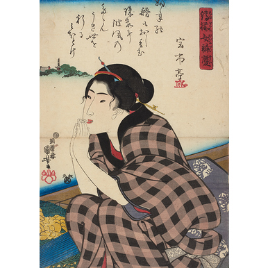 Woman praying | Pictures of the floating world | Artikelnummer:  PODE-HM-11485-46-A4