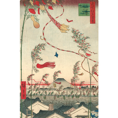 100 famous views of Edo | Town decorated for the Tanabata festival | Artikelnummer: PODE-KI-10522-1-A2S