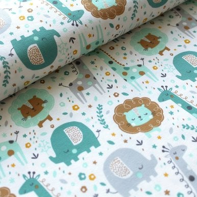 Jersey mini Jungle mint grau 0,5m (21,60 EUR / m) |  | Artikelnummer: A-201813786