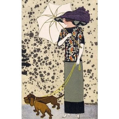 Fashion postcard with dogs | Wiener Werkstätte Postcard No. 519 | Artikelnummer: PODE-KI-8875-2-A2S