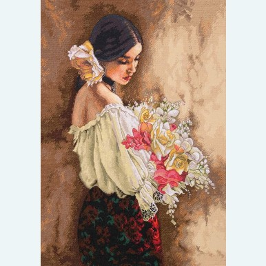 Woman with Bouquet - borduurpakket met telpatroon Dimensions |  | Artikelnummer: dim-70.35274