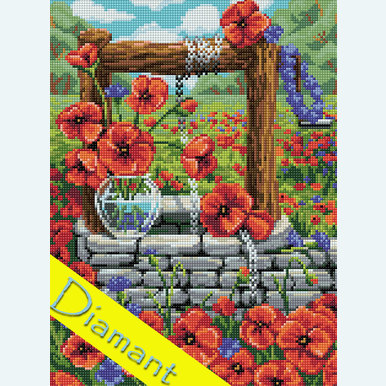 Poppy Field - Diamond Painting pakket - Diamond Art | Pakket met vierkante diamantjes | Artikelnummer: da-az-1625