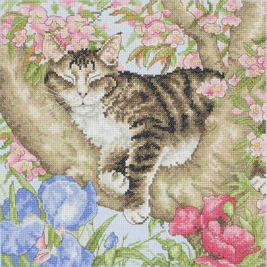 Sleepy Cat - Borduurpakket met telpatroon Coats Crafts |  | Artikelnummer: cts-apc953