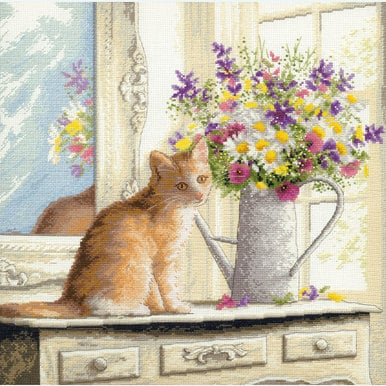 Kitten in the Window - handwerkpakket met telpatroon Dimensions |  | Artikelnummer: dim-70-35359