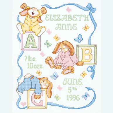Sleepy Bunnies Birth Announcement - borduurpakket met telpatroon Janlynn |  | Artikelnummer: jl-054.0048