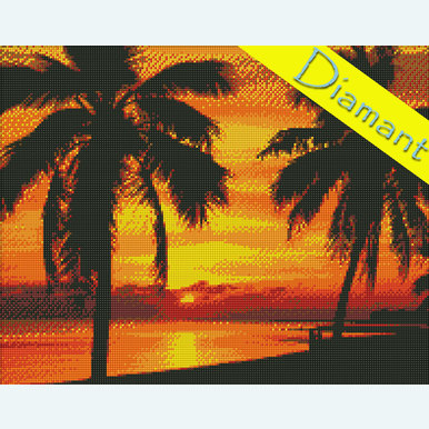 Palms on the Sunset - Diamond Painting pakket - Diamond Art | Pakket met vierkante diamantjes | Artikelnummer: da-az-1090