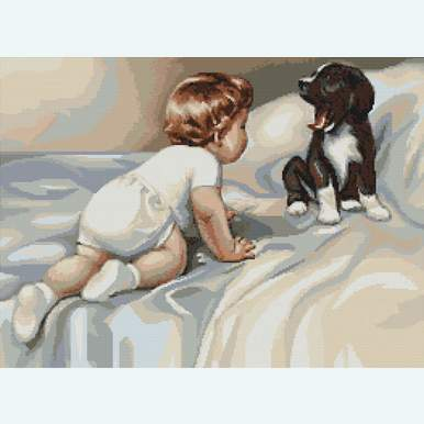 Boy with Dog - kruissteekpakket met telpatroon Luca-S |  | Artikelnummer: luca-b374
