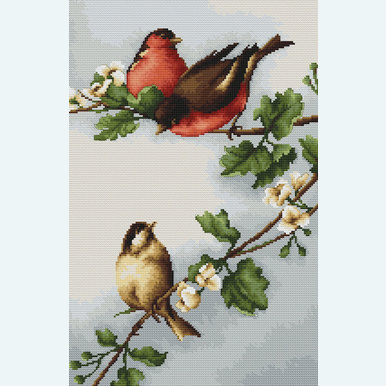 Birds in Blossoms - borduurpakket met telpatroon Luca-S |  | Artikelnummer: luca-b216