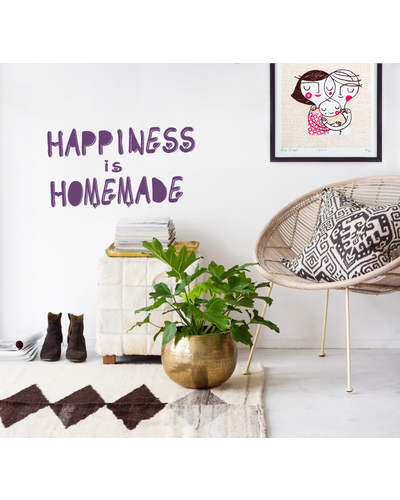 Wandsticker HAPPINESS IS HOMEMADE Typo Schriftzug  |  | Artikelnummer: 92890499