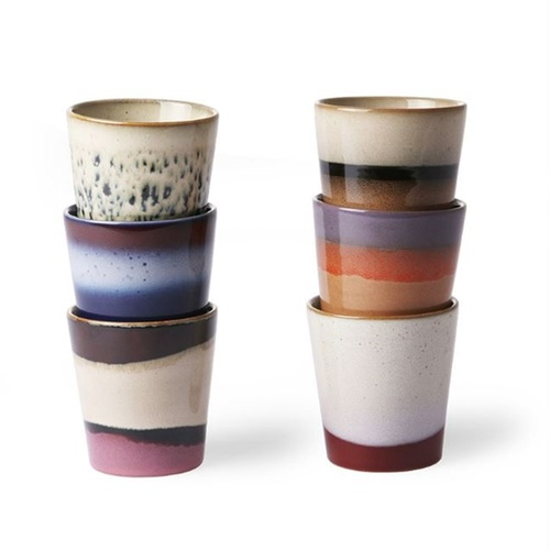 HK Living Becher ceramic 70´s - 6er Set