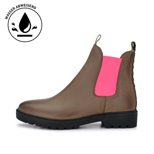 CRICKIT-Chelsea Boot Stiefelette-HANNAH Nubuk Taupe mit Pink
