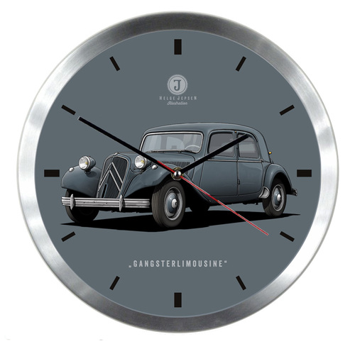 "Wanduhr mit Illustration eines Citroen Traction Avant 11 CV - Spitzname ""Gängsterlimousine"""