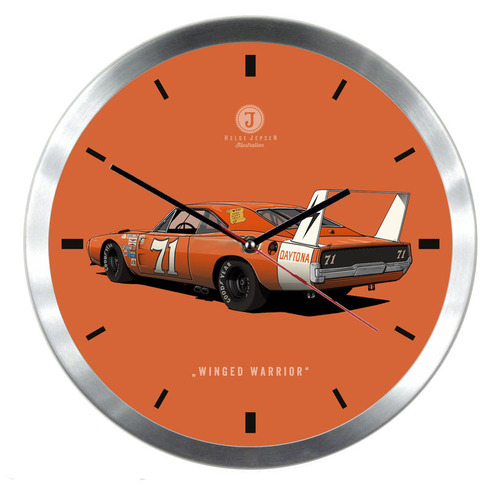 "Helge Jepsen Wanduhr mit Illustration eines Dodge - Spitzname ""Winged Warrior"""